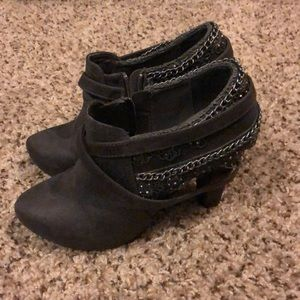 Gray ankle boots with straps